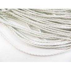 WOVEN LEATHER CORD WHITE 1 METRE